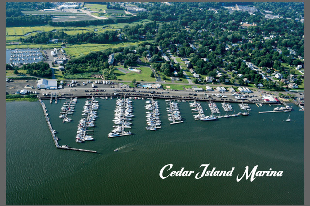 Cedar Island Marina Postcard by Pelland Advertising