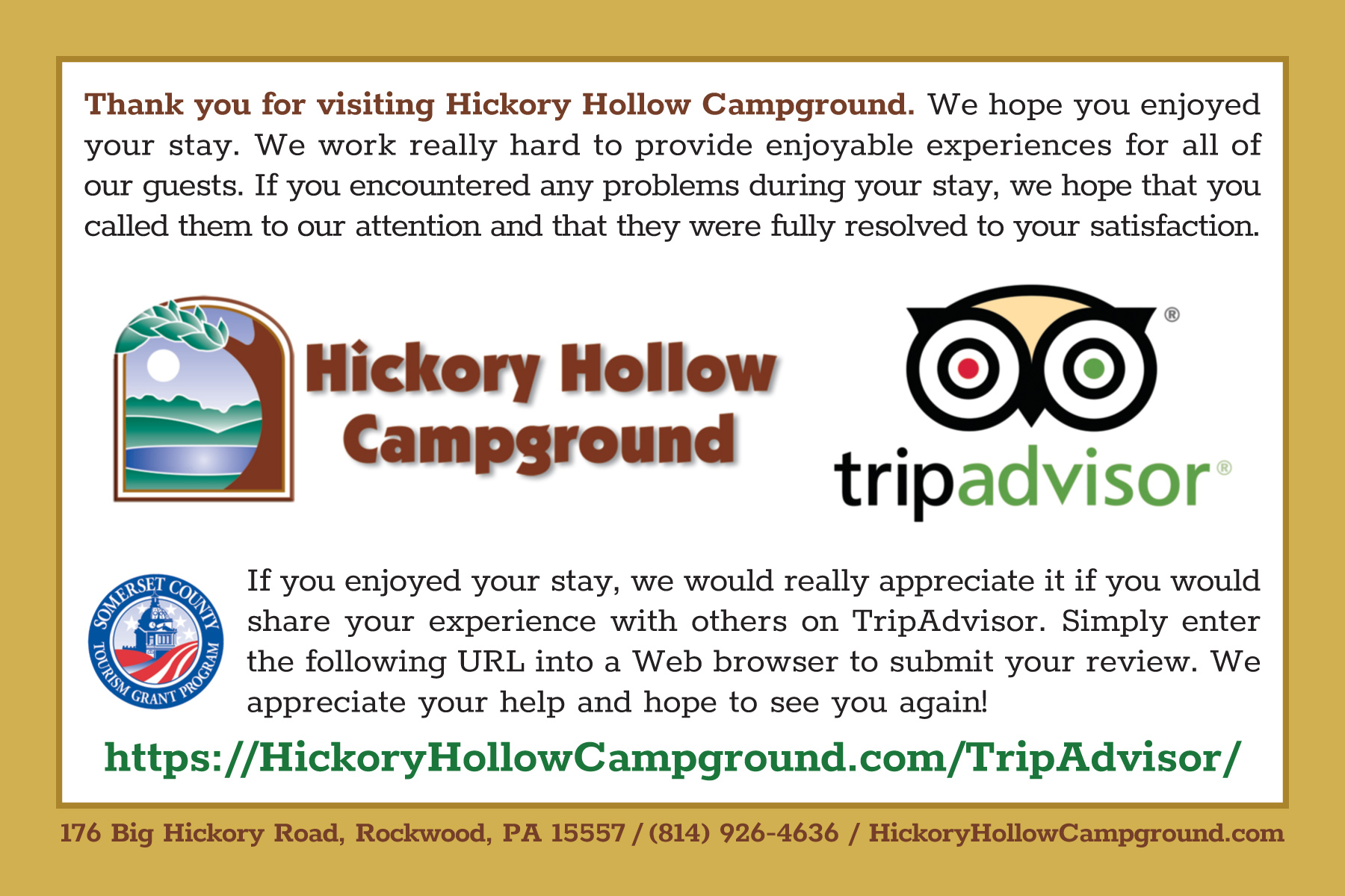 Hickory Hollow Campground Postcard by Pelland Advertising