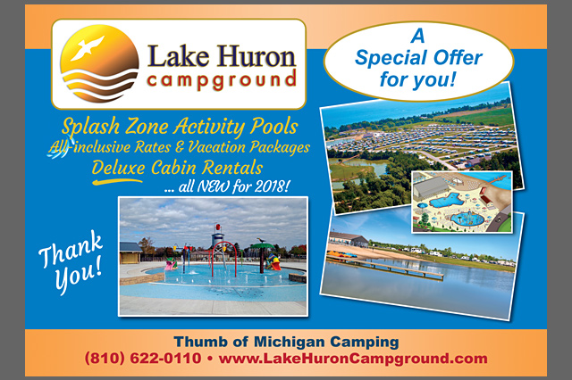 Lake Huron Campground Postcard by Pelland Advertising
