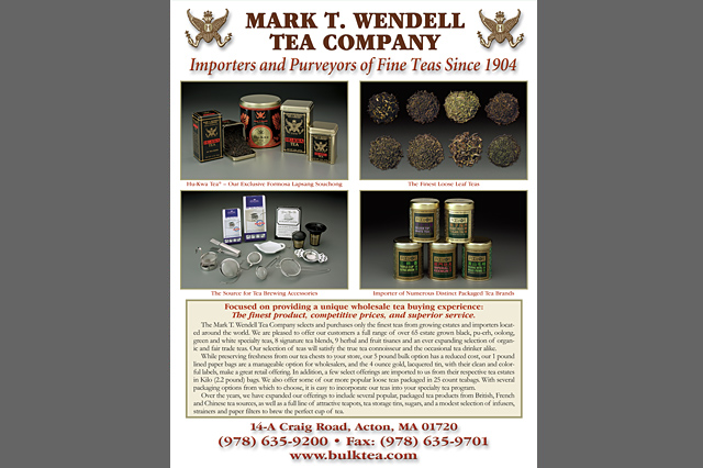 Mark T. Wendell Tea Company sell sheet by Pelland Advertising