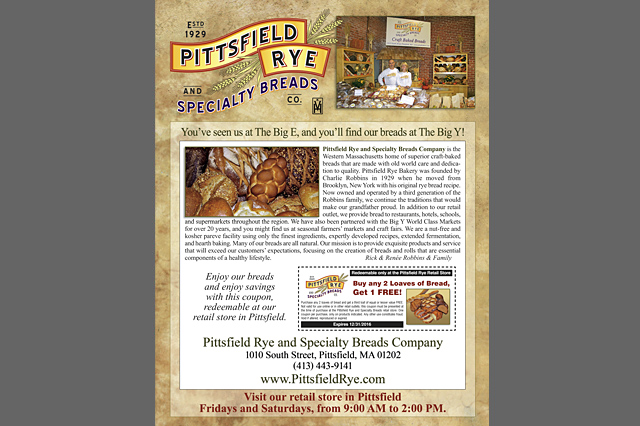 Pittsfield Rye & Specialty Bread Company sell sheet by Pelland Advertising