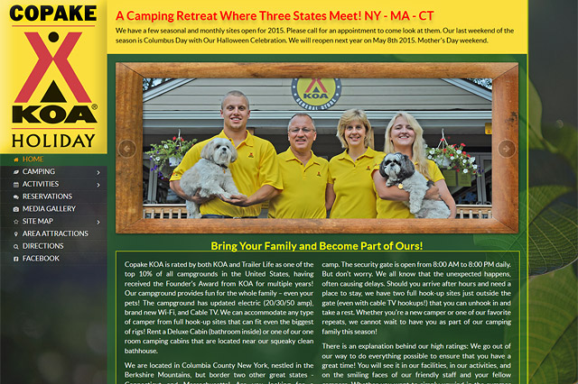 Copake KOA: Responsive Website by Pelland Advertising