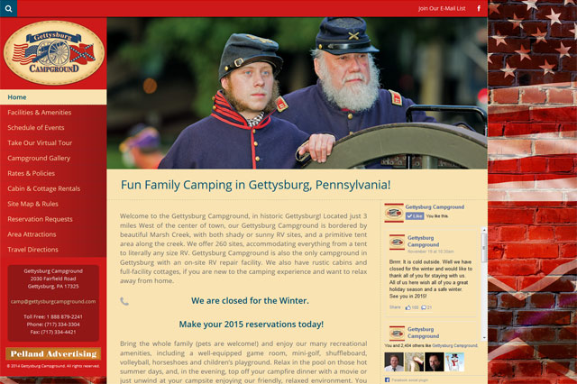 Gettysburg Campground: Responsive Website by Pelland Advertising