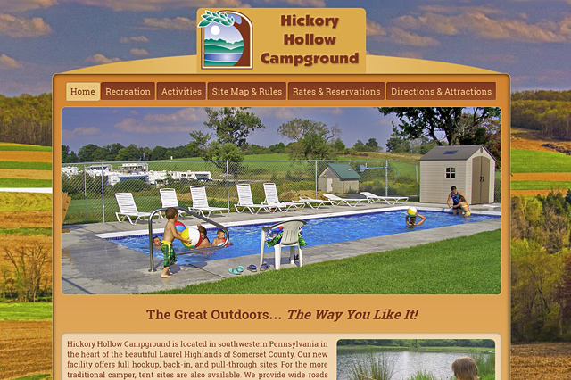 Hickory Hollow Campground: Responsive Website by Pelland Advertising