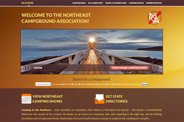 Northeast Campground Association: Responsive Website by Pelland Advertising