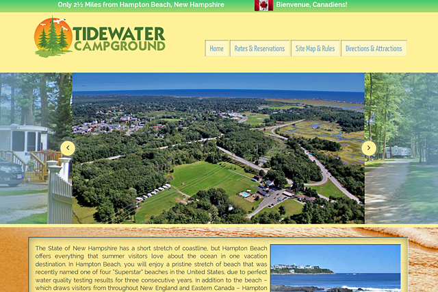 Tidewater Campground: Responsive Website by Pelland Advertising
