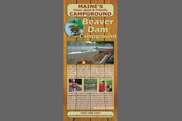 Beaver Dam Campground Rack Card by Pelland Advertising