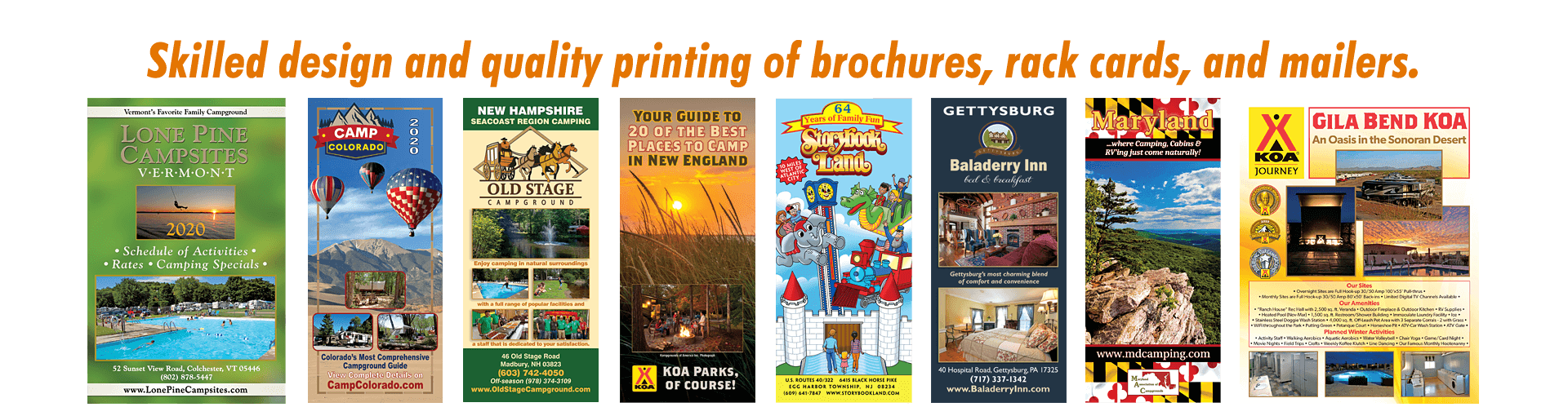 Brochures, Rack Cards and Mailers