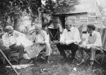 President Warren Harding, Thomas Edison, Henry Ford, and Harvey Firestone