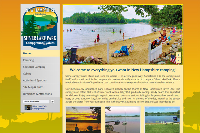 Silver Lake Park Campground & Cabins: Responsive Website by Pelland Advertising
