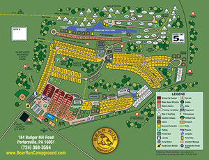 Bear Run Campground Site Map