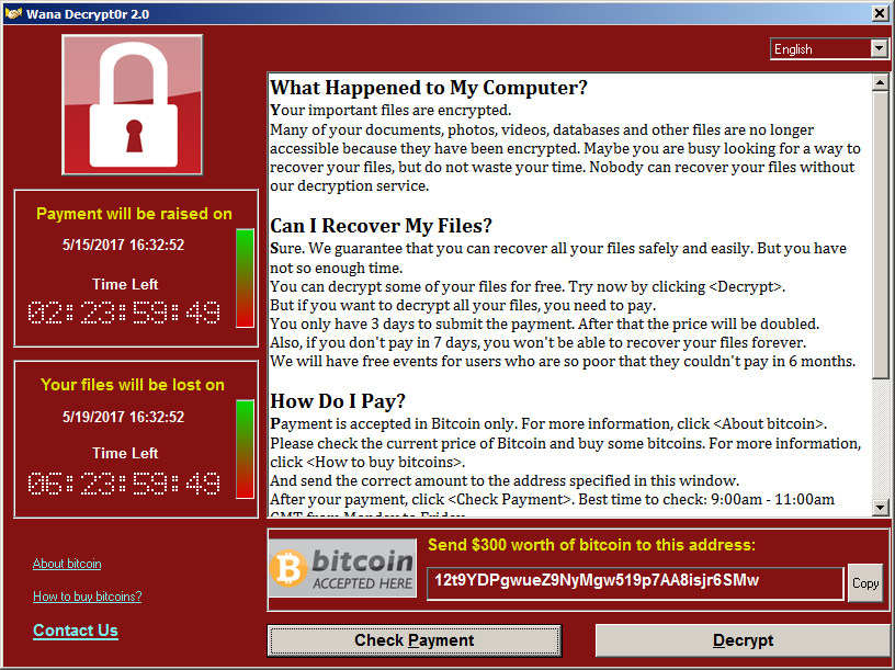 WannaCry ransomware screen capture